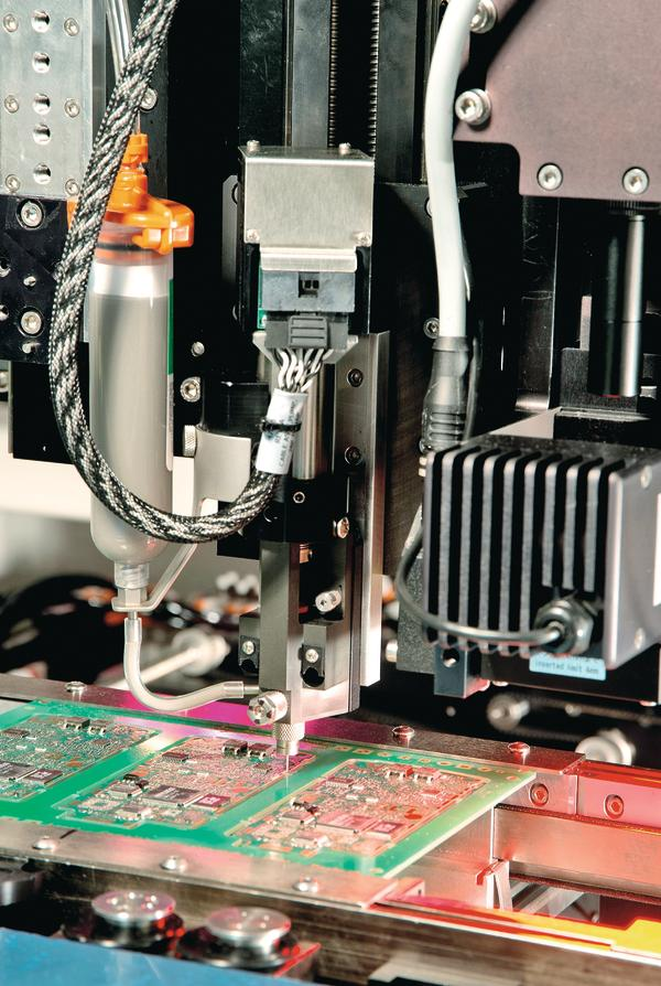 Automated dispensing enables efficient RF shield edge